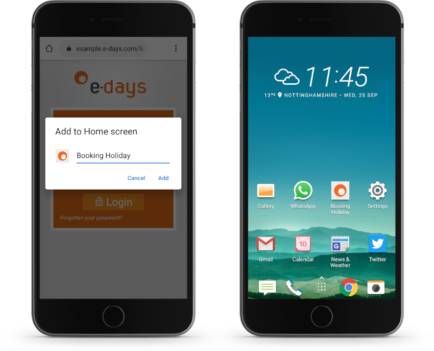 Mobile phones with e-days app on