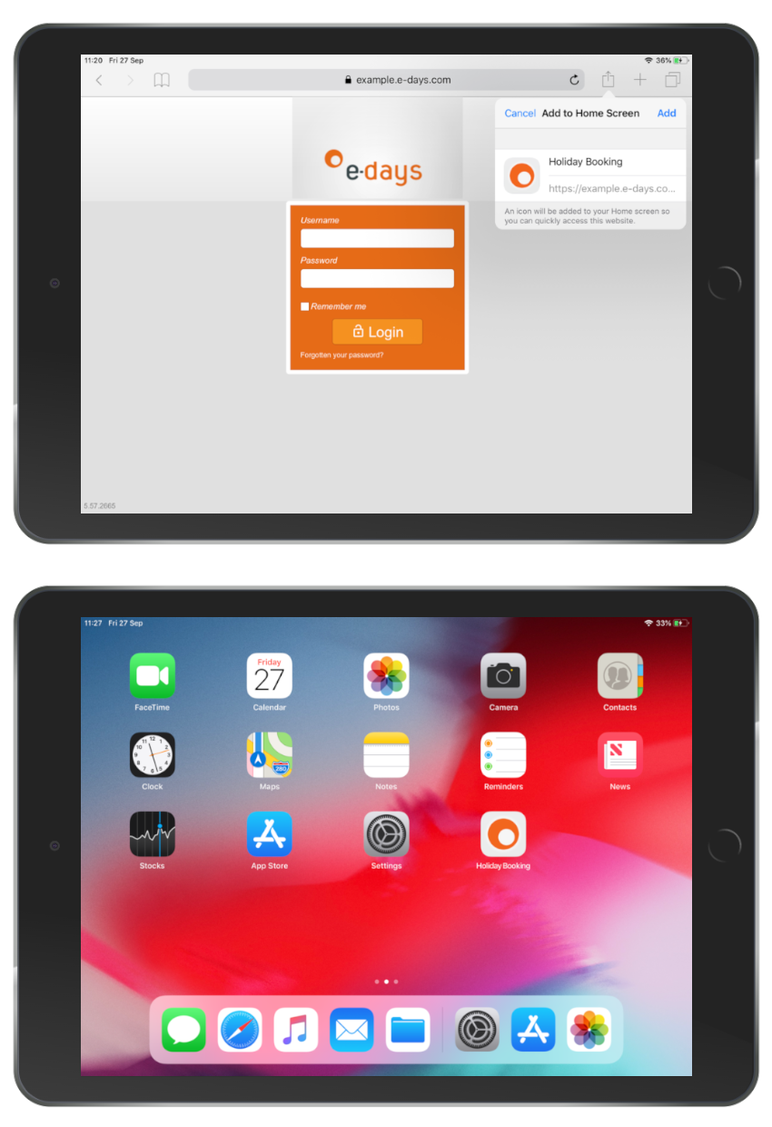 Tablet with e-days app on